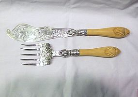 Large Victorian Sterling Fish Servers Ivory Handles