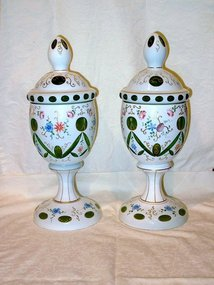 Large Cased and Cut to Emerald Green Covered Urns