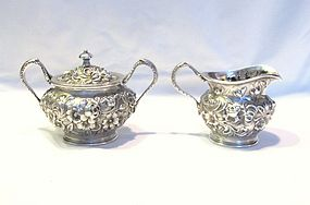 Jacobi Repousse Sterling Covered Sugar and Creamer