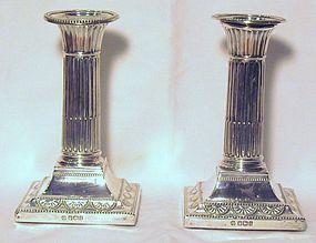 Victorian Silver Candlesticks; 1899