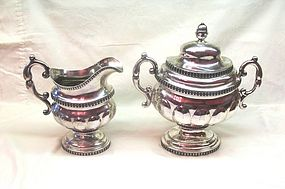 Coin Silver Creamer and Sugar Garrett Eoff NY