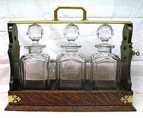Victorian Oak Three Bottle Tantalus