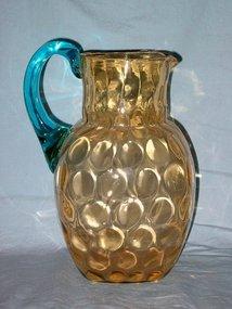 Amber Glass Hand Blown Thumbprint Pitcher