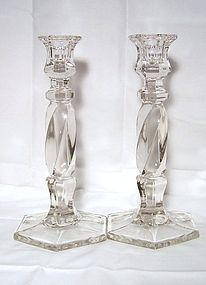 Pair of Tall Hexagonal Glass Candlesticks