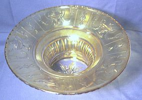 Thomas Hawkes Amber Crystal Fruit or Center Bowl
