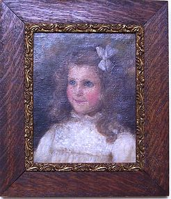 Victorian Oil on Canvas Portrait of a Young Girl