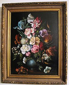 Hungarian Sill Life with Flowers Oil on Board