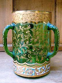 Moser 3-Handled Green Enameled Tyg or Loving Cup