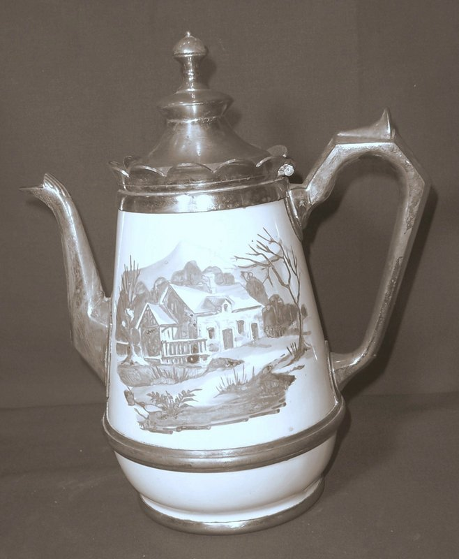 French Enamel and Pewter Tea Pot