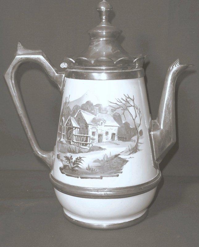 French Enamel and Pewter Tea Pot
