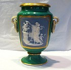 Pate-Sue-Pate Porcelain Green Glazed Cameo Vase