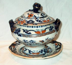 Ironstone Covered Tureen and Matching Stand circa 1820