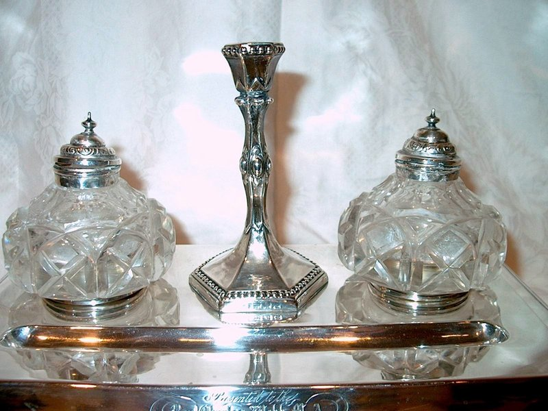 Large English Victorian Sterling Silver Inkstand