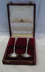 Georgian Sterling Sauce Ladles Shell Design Boxed