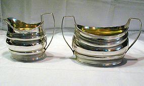 Georgian Silver Sugar and Creamer; Hennell, 1799