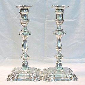 Hawksworth, Eyre; Georgian Style Silver Candlesticks