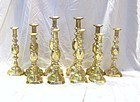 Complete Set Victorian Diamond Brass Candlesticks