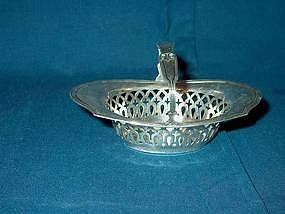 Sterling Silver Nut Basket With Handle