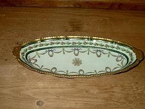 Limoges Oval Dish with Gilt Border