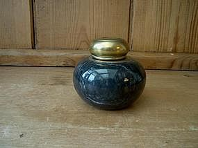 Black Marble Inkwell With A Brass Top