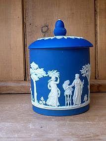 Wedgwood Jasperware Deep Blue Biscuit Jar