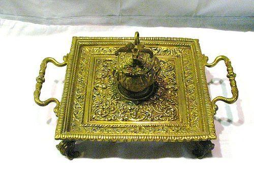 Brass Inkstand with Mythological Figure