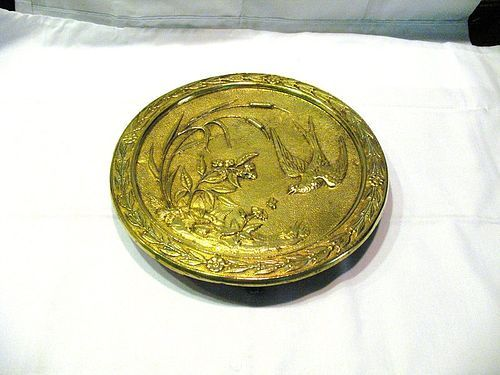 Bronze Art Nouveau Card Tray or Trivet