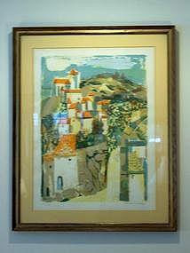 Georges Lambert Lithograph; Village Landscape