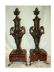 Pair of Bronze and Onyx Garnitures Urns
