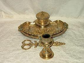Victorian Assembled Brass Deskset