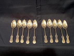 Ten Coin Silver Spoons; Baltimore, c. 1815-1825