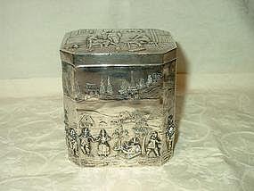 Silver Octagonal Tea Caddy; German, c. 1890
