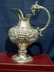 German Silver Wine Pitcher or Claret Jug