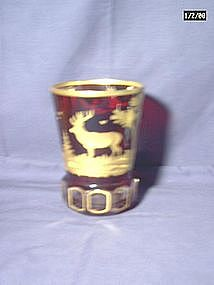 Ruby Glass and Gilt Hunt Beaker
