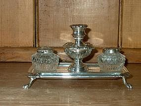 Victorian Silver Plate Inkstand or Standish