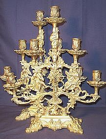 Pair of Large Bronze Figural Five Light Candelabras