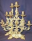 Pair of Large Bronze Figural Five Light Candelabras