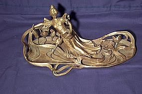 Art Nouveau Figural Tray;  Woman with Book and Pen