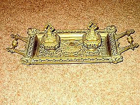 Very Large English Victorian Brass Inkstand