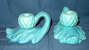 Pair of Van Briggle Art Pottery Candle Holders