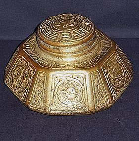 Large Tiffany Zodiac Bronze Inkwell