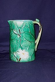 Joseph Holdcroft Majolica Pitcher; Lilies