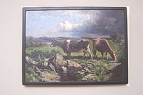 Frederick J Waugh Oil on Canvas Cows Grazing