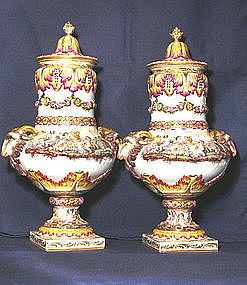 Capodimonte Covered Urns Pair