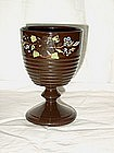 Victorian Copper Lustre Goblet;  Hand Painted Florals