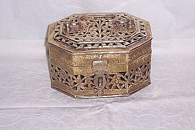 Victorian Brass Hinged Trinket Box