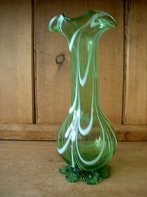 English Victorian Nailsea Green Glass Vase