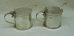 Matched Pair English Sterling Mustard Pots and Spoons