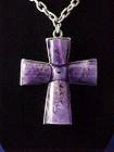 William Spratling Silver & Amethyst Cross Necklace