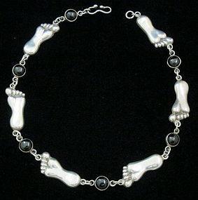 Vintage HUBERT HARMON Sterling & Onyx FOOT Necklace